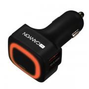 Auto punjač Canyon CNE-CCA05B 4xUSB, smart IC orange LED crna