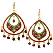 Spargz Beautiful Oxidize Silver Red Bead Chand Bali Earrings For Wedding & Party AIER_1365