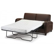 Vivo Fold Out Sofa Bed In Chestnut Faux Leather or Mink Chenille Fabric - Faux Leather