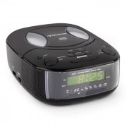 Auna Dreamee BK Radiowecker mit CD-Player UKW/MW AUX Dual-Alarm schwarz