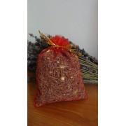 sacchetto lavanda in organza rosso con stelle 10x13 cm circa