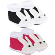 Neska Moda Pack Of 2 Baby Infant Soft Black and Pink Booties For Age Group 0 To 12 Months SK133andSK147