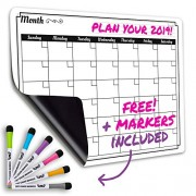 Dry Erase Monthly Calendar Set-Large Magnetic White Board & Grocery List Organizer for Kitchen Refrigerator (Horizontal)