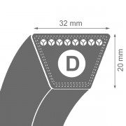 Curea de transmisie trapezoidala D 32x20x3350 Li / 3476 La