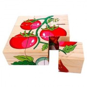 SHRIBOSSJI Colorful Wooden Block Picture Puzzle For Toddlers And Small Children (Vegetable Theme) 9 Piece