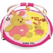 Baby Mix rózsaszín kör alakú nyuszis játszószőnyeg
