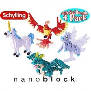 Nanoblock Building Blocks Mysticxal Creatures Complete Gift Set Bundle Including Dragon Unicorn Pegasus & Phoenix - 4 Pack