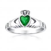 Silvego Stříbrný prsten Claddagh se zeleným zirkonem - PRMR21195EMG