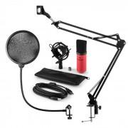 MIC-900RD Set Microfono USB V4 Condensatore Anti-Pop Braccio rosso