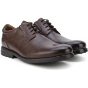 Clarks Hopton Walk Walnut Leather Lace Up For Men(Brown)