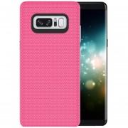 Para Samsung Galaxy Note 8 PC + TPU Antideslizante Protector Cromado, Pulse El Boton Volver Funda (magenta)