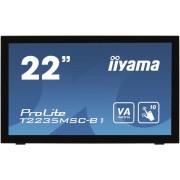 "Monitor VA LED iiyama Prolite 21.5"" T2235MSC-B1, Full HD (1920 x 1080), VGA, DVI, DisplayPort, 6 ms, Touch, Boxe (Negru)"