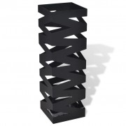 vidaXL Black Square Umbrella Stand Storage Holder Walking Stick Steel 48.5 cm