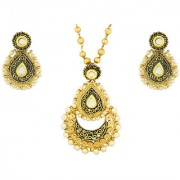 The Jewelbox Ethnic Rope Enamel Filigree Pearl Kundan 18K Gold Plated Pendant Chain Necklace Set Earring Set For Women