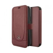 Apple Mercedes-Benz Booktype Genuine Leather Peforations Red For Apple iPhone 11
