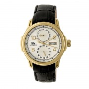 Reign Cascade Automatic Leather-Band Watch w/Day/Date - Gold/Silver REIRN4403