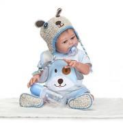 Reborn Dolls, NCol Lifelike Realistic Baby Dolls Full Body Silicone Vinyl, 20inch 50cm Waterproof Weighted Baby Closed Eyes Toys (Blue Boy Doll)