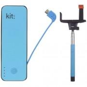 Baterie Portabila Kit PWR4BTSSBLBUN, 4500 mAh, Blue + Selfie Stick Bluetooth