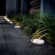 4 db napelemes 8 LED földbe süllyeszthető acél világítás 12 cm