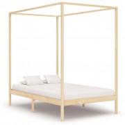 vidaXL Рамка за легло с балдахин, бор масив, 120х200 см