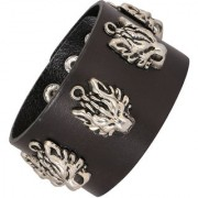 The Jewelbox Tiger Head Funky 100 Genuine Handcrafted Rhodium Black Adjustable Leather Bracelet Boys