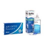 Air Optix Plus Hydraglyde (6 linser) + ReNu MultiPlus 360 ml med linsetui