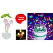 Mushroom Colorful LED Light Sensor and Disco Color LED Rotating Bulb