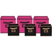 Billion Designer Non Woven 6 Pieces Small & Large Foldable Storage Organiser Cubes/Boxes (Pink & Black) - CTKTC35374 CTLTC035374(Pink & Black)