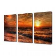 Tablou Canvas Premium Peisaj Multicolor Apus de soare in tonuri de rosu la pe plaja Decoratiuni Moderne pentru Casa 3 x 70 x 100 cm