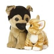 "Aurora World Miyoni Unlikely Friends German Shepherd and Tabby Kitten Plush, 12"""