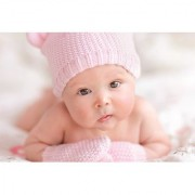 EJA Art Sweet Baby in Winter Without Frame Paper Poster Size 30X45 cms (With 12 Butterfly Free)