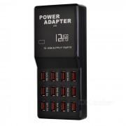 Portatil de 12 puertos USB 2.0 de alta velocidad cargador rapido - Negro (EE.UU. enchufes)