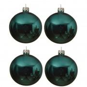 Decoris 4x Turquoise blauwe glazen kerstballen 10 cm glans