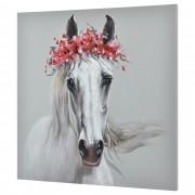 [art.work] Ručně malovaný obraz - kůň - plátno napnuté na rámu - 100x100x3,8 cm