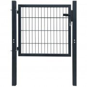vidaXL 106x150 cm acél kerítés kapu, antracit szürke színben