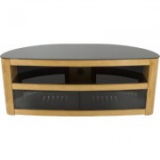 AVF Burghley Affinity Plus Curved TV Stand 1250- Oak w/ Black Glass