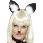Bentita cu urechi de pisica negru cu alb