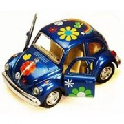 1967 Volkswagen Classic Beetle with Decals, Blue - Kinsmart 4026DF - 3.75' Diecast Model Toy Car