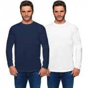 Haoser Solid Cotton Round Neck Full Sleeves Mens T Shirts (Pack of 2 T Shirt for Men White and Blue)