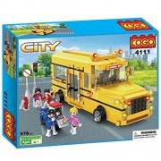 COGO City Long Nose School Bus Yellow Truck Car Vehicle Educational Toys Building Play Set Kit for Kids Boy and Girl Age 6 576 Bricks CG4111