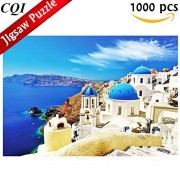 Jigsaw Puzzles 1000 Piece - Dreamy Santorin Greek Island - Greece Aegean Sea Landscape Puzzle for Adult Kids
