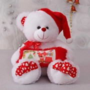 White 15 Inch BigFoot Christmas Teddy Bear with cap and santa cushion