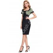 Lejdi Czarna prosta satynowa sukienka z zieloną szyfonową górą w białe kropki lata 50-te 117