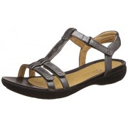Clarks Women's Pewter Metallic Leather Fashion Sandals - 6 UK/India (39.5 EU)