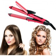 Original latest Branded NHC 1818C 2 in 1 Beauty hair curler and hair straightener 360 swivel cord with digital temperatu