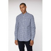 Ben Sherman Main Line Blue Long Sleeve Gingham Shirt XL Blue Depths