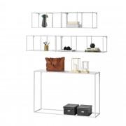 [en.casa]® Mesa consola con set de 4x Estantes de pared - 120,5cm x 31,5cm x 80cm - Baldas - Blanco
