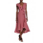 Max Studio Patterned Ruffle Wrap Midi Dress SCARLETNAVY JACK STAMP PANEL