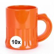 Geen 10x Oranje shotglaasjes 2,5 cl