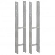 vidaXL Fence Anchors 2 pcs Silver 10x6x60 cm Galvanised Steel